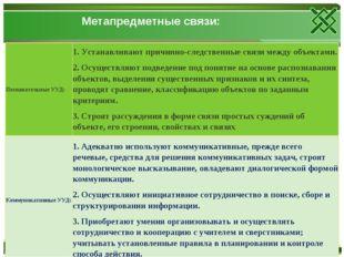 Метапредметные связи: Познавательные УУД:1. Устанавливают причинно-следстве