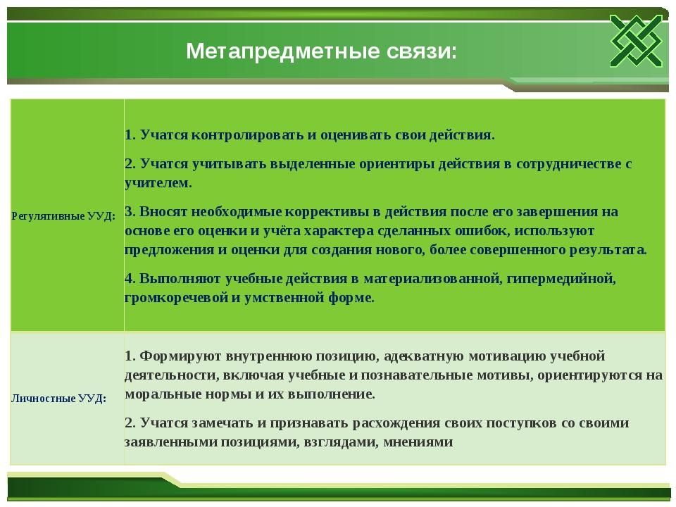 Метапредметные связи: Регулятивные УУД:1. Учатся контролировать и оценивать...