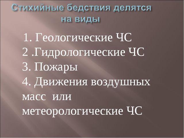 1. Геологические ЧС 2 .Гидрологические ЧС 3. Пожары 4. Движения воздушных ма...