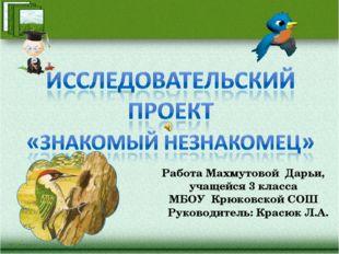 Работа Махмутовой Дарьи, учащейся 3 класса МБОУ Крюковской СОШ Руководитель: