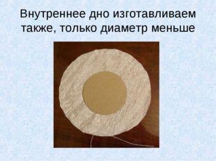 Внутреннее дно изготавливаем также, только диаметр меньше