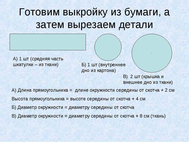 Готовим выкройку из бумаги, а затем вырезаем детали А) Длина прямоугольника =...