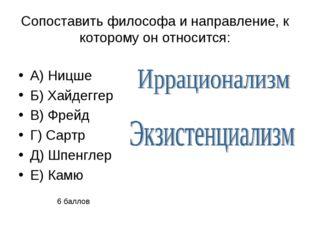 Сопоставить философа и направление, к которому он относится: А) Ницше Б) Хайд