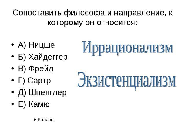 Сопоставить философа и направление, к которому он относится: А) Ницше Б) Хайд...