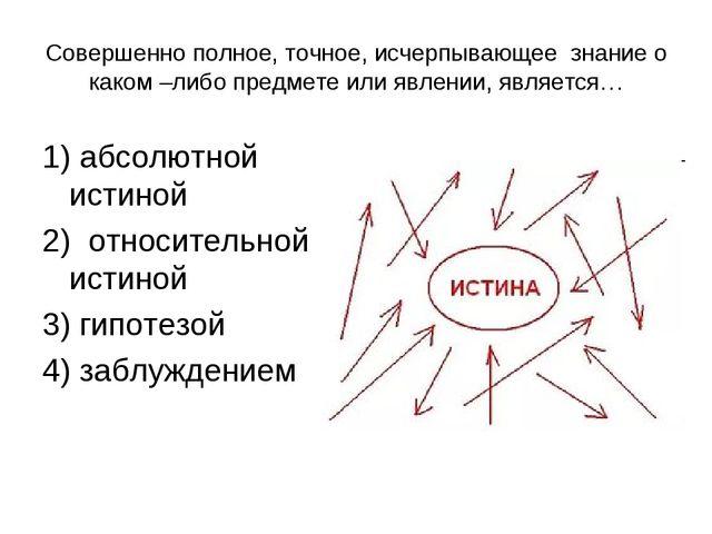 Совершенно полное, точное, исчерпывающее знание о каком –либо предмете или яв...