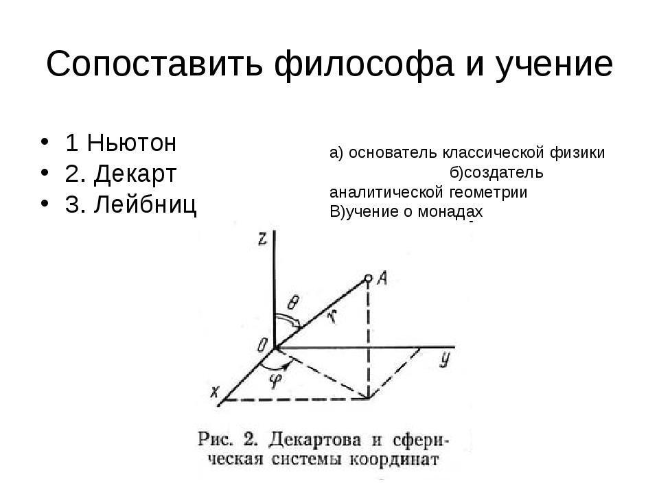 Сопоставить философа и учение 1 Ньютон 2. Декарт 3. Лейбниц а) основатель кла...