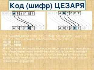 Код (шифр) ЦЕЗАРЯ Так, зашифрованное слово «КТОН» будет записано как «ОЦТС»,