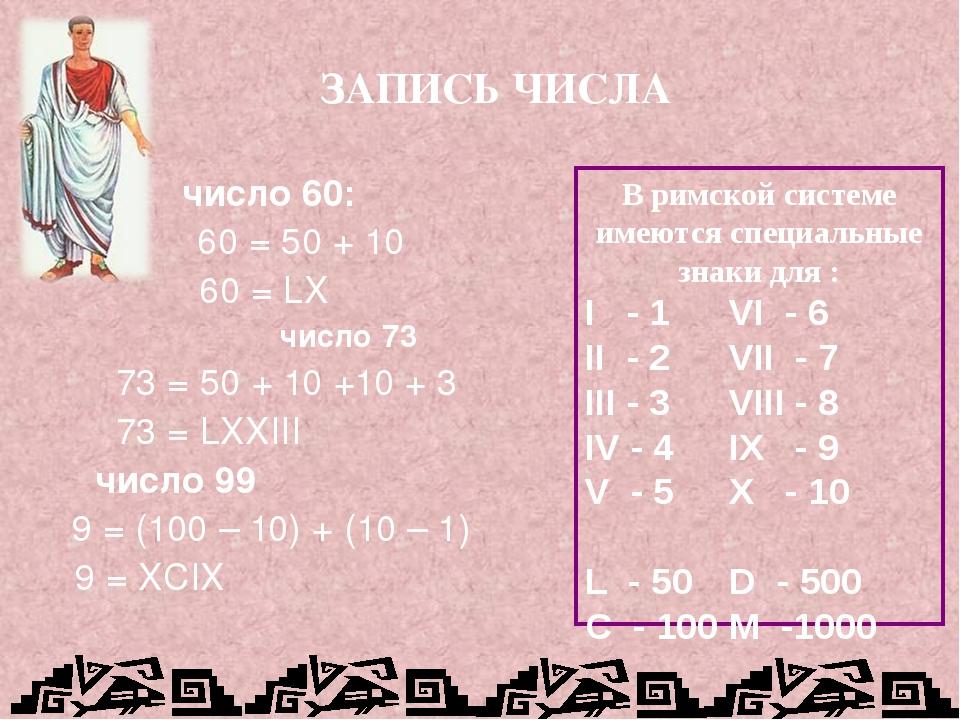 число 60: 60 = 50 + 10 60 = LX число 73 73 = 50 + 10 +10 + 3 73 = LXXIII чис...