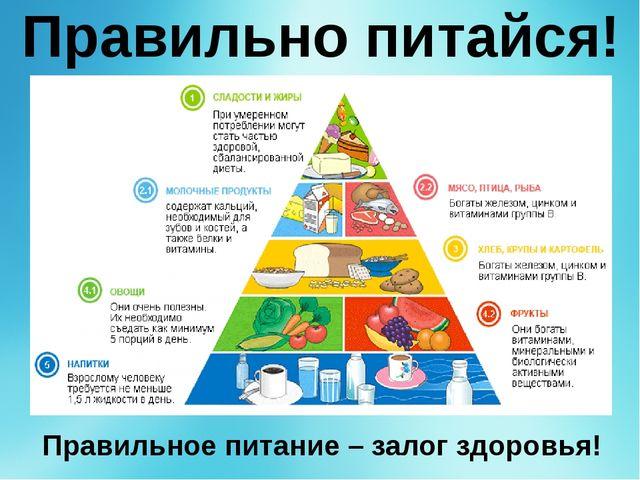 Правильно питайся! Правильное питание – залог здоровья! Правильное питание –...