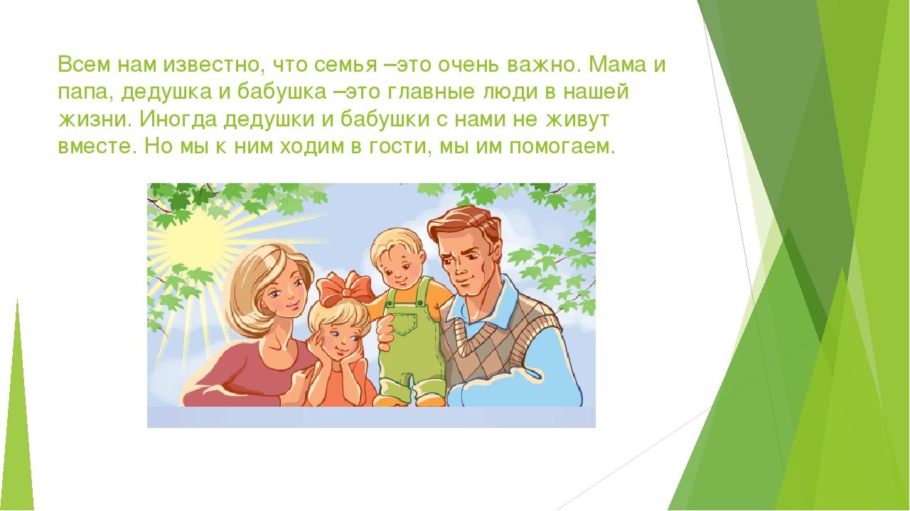Всем нам известно, что семья –это очень важно. Мама и папа, дедушка и бабушка...
