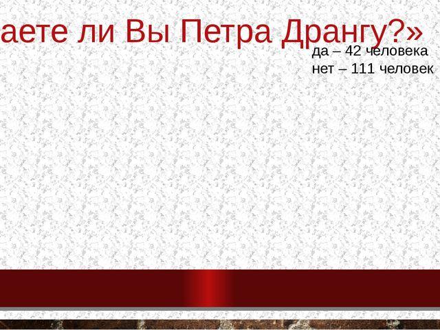 «Знаете ли Вы Петра Дрангу?» да – 42 человека нет – 111 человек