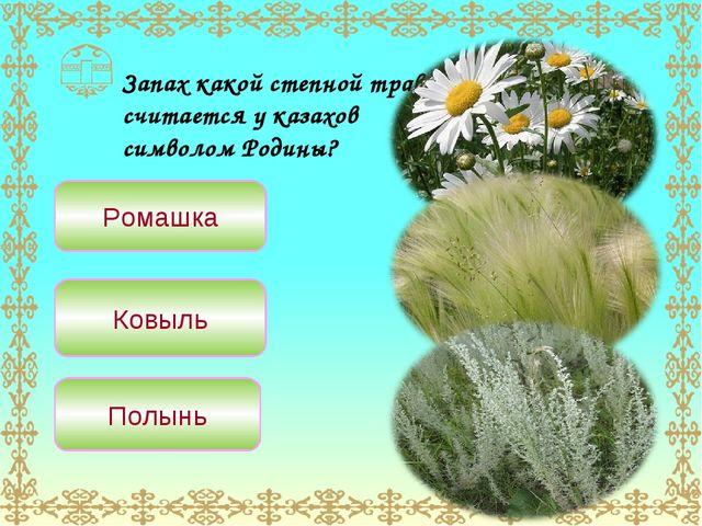 Запах какой степной травы считается у казахов символом Родины? Ромашка Ковыль...