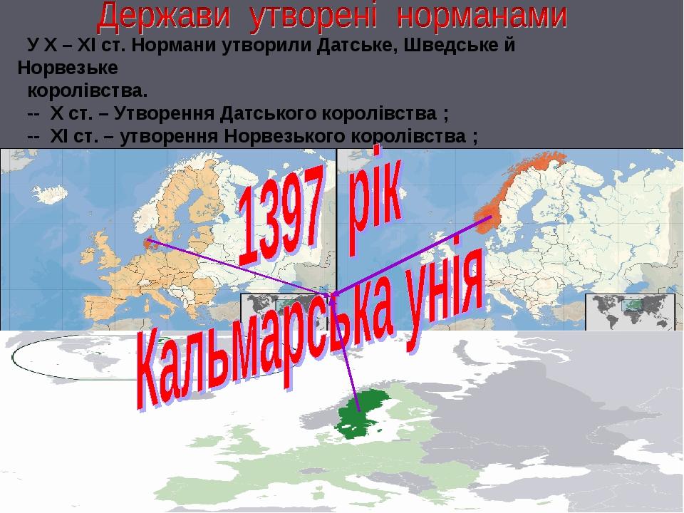 У Х – ХІ ст. Нормани утворили Датське, Шведське й Норвезьке королівства. --...