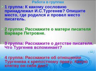 Работа в группах 1 группа: К какому сословию принадлежал И.С.Тургенев? Опишит