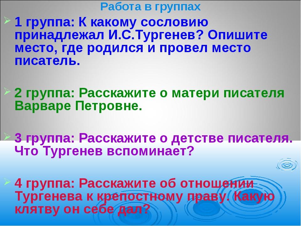 Работа в группах 1 группа: К какому сословию принадлежал И.С.Тургенев? Опишит...