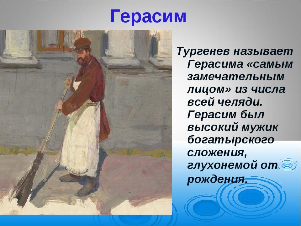 Герасим Тургенев называет Герасима «самым замечательным лицом» из числа всей...