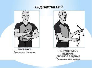 ВИД НАРУШЕНИЙ ПРОБЕЖКА Вращение кулаками НЕПРАВИЛЬНОЕ ВЕДЕНИЕ: ДВОЙНОЕ ВЕДЕНИ