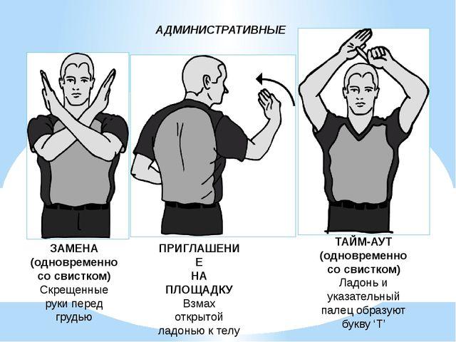 АДМИНИСТРАТИВНЫЕ ЗАМЕНА (одновременно со свистком) Скрещенные руки перед груд...