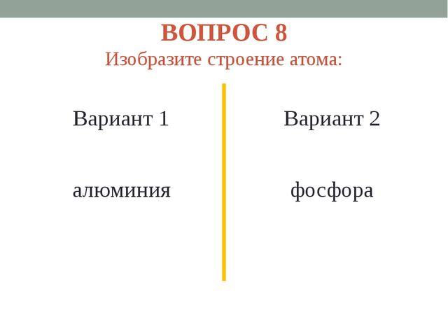 ВОПРОС 8 Изобразите строение атома: Вариант 1 алюминия Вариант 2 фосфора