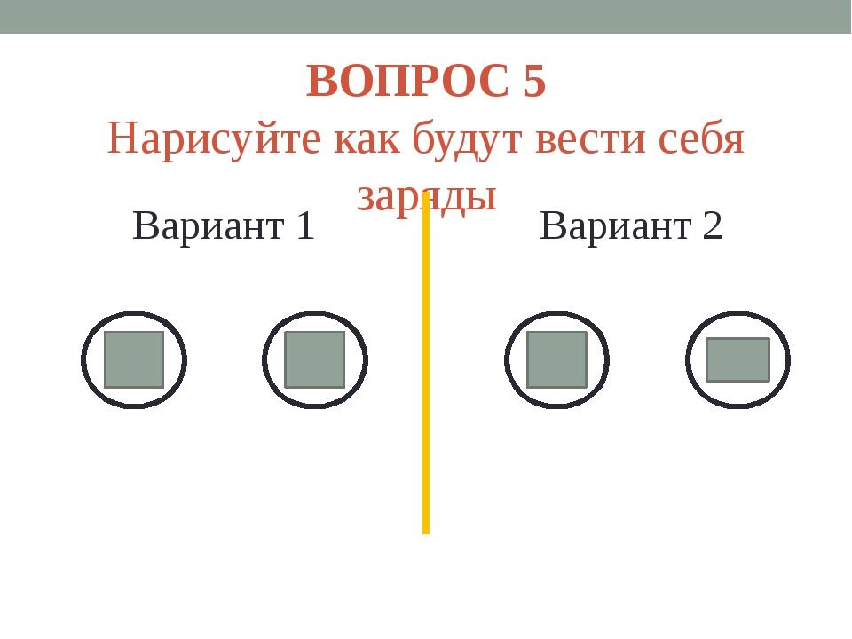 ВОПРОС 5 Нарисуйте как будут вести себя заряды Вариант 1 Вариант 2