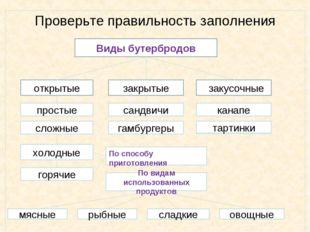 Проверьте правильность заполнения Виды бутербродов открытые простые сложные х