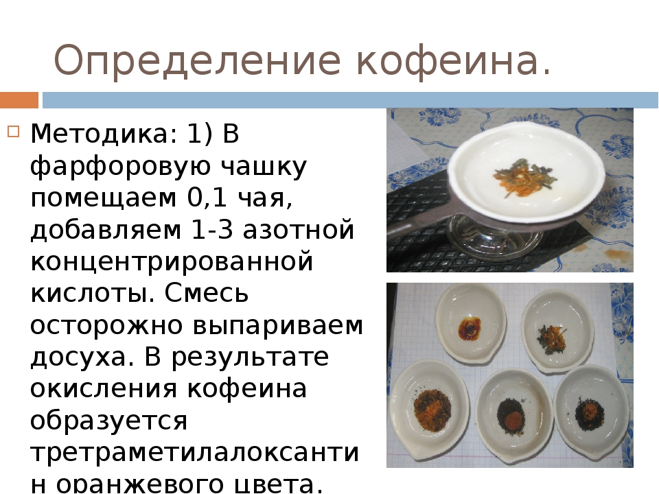 Определение кофеина. Методика: 1) В фарфоровую чашку помещаем 0,1 чая, добавл...