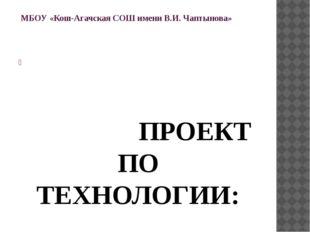 МБОУ «Кош-Агачская СОШ имени В.И. Чаптынова»    ПРОЕКТ ПО ТЕХНОЛОГИИ:  «