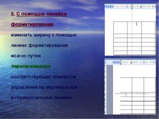 2. С помощью линейки форматирования: изменить ширину с помощью линеек формати
