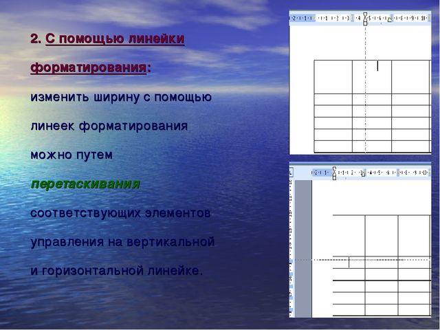 2. С помощью линейки форматирования: изменить ширину с помощью линеек формати...