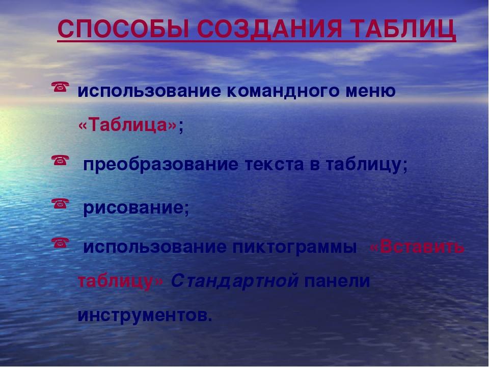 СПОСОБЫ СОЗДАНИЯ ТАБЛИЦ использование командного меню «Таблица»; преобразован...