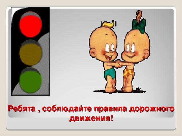 Ребята , соблюдайте правила дорожного движения!