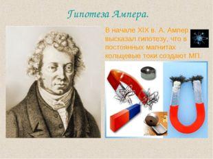Гипотеза Ампера. В начале XIX в. А. Ампер высказал гипотезу, что в постоянных