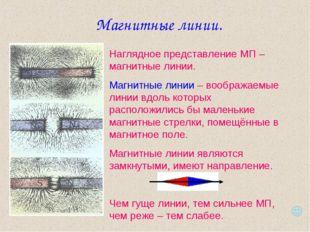 Магнитные линии. Наглядное представление МП – магнитные линии. Магнитные лини
