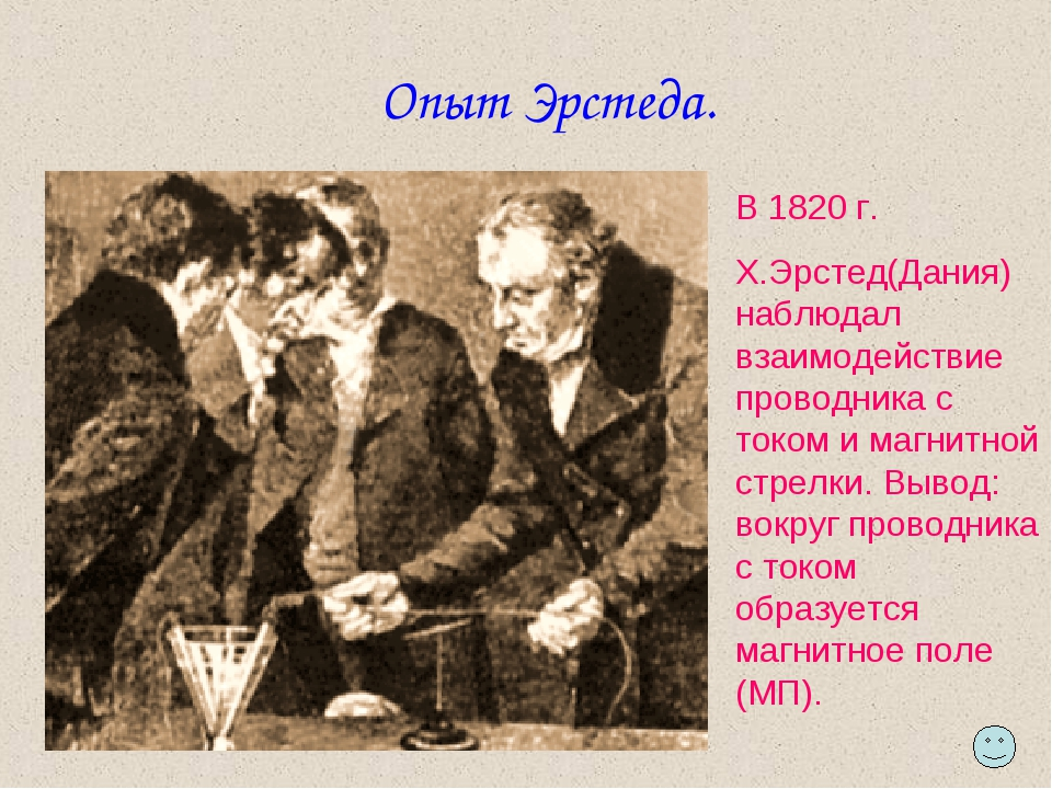 Опыт Эрстеда. В 1820 г. Х.Эрстед(Дания) наблюдал взаимодействие проводника с...