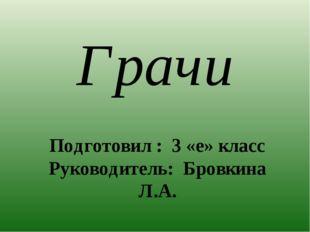 Грачи Подготовил : 3 «е» класс Руководитель: Бровкина Л.А.