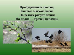 Пробудившись ото сна, Кистью мягкою весна На ветвях рисует почки На полях — г