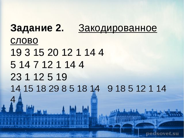 Задание 2. Закодированное слово 19 3 15 20 12 1 14 4 5 14 7 12 1 14 4 23 1 12...