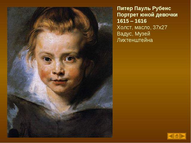 Питер Пауль Рубенс Портрет юной девочки 1615 – 1616 Холст, масло, 37х27 Вадус...