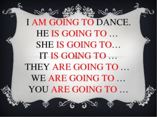 I AM GOING TO DANCE. HE IS GOING TO … SHE IS GOING TO… IT IS GOING TO … THEY