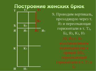 9. Проводим вертикаль, проходящую через т. Я3 и пересекающая горизонтали в т.