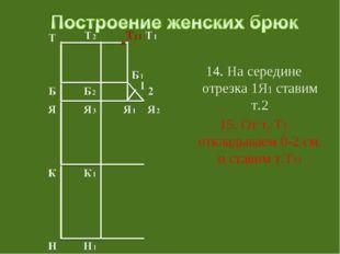 14. На середине отрезка 1Я1 ставим т.2 15. От т. Т1 откладываем 0-2 см. и ст