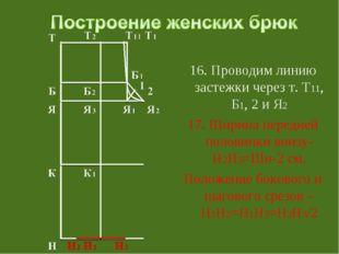 16. Проводим линию застежки через т. Т11, Б1, 2 и Я2 17. Ширина передней пол