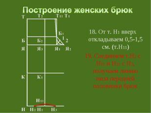 18. От т. Н1 вверх откладываем 0,5-1,5 см. (т.Н11) 19. Соединяем т.Н2 с Н11