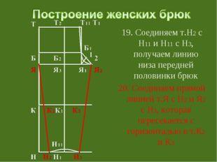 19. Соединяем т.Н2 с Н11 и Н11 с Н3, получаем линию низа передней половинки б
