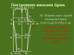 30. Ширина шага задней половинки брюк Я1Я5=0,2(Сб+Пб)+1 см. 31. Вспомогатель