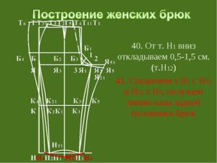 40. От т. Н1 вниз откладываем 0,5-1,5 см. (т.Н12) 41. Соединяем т.Н1 с Н12 и