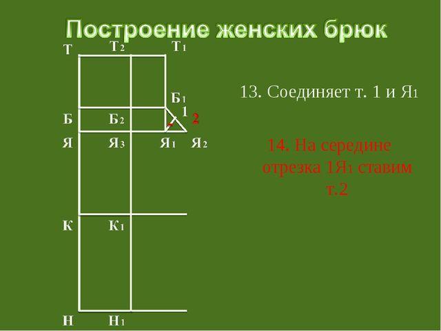 13. Соединяет т. 1 и Я1 14. На середине отрезка 1Я1 ставим т.2