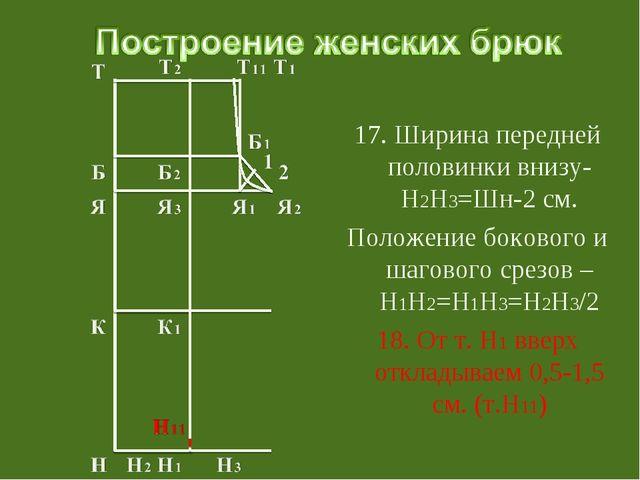 17. Ширина передней половинки внизу-Н2Н3=Шн-2 см. Положение бокового и шагов...