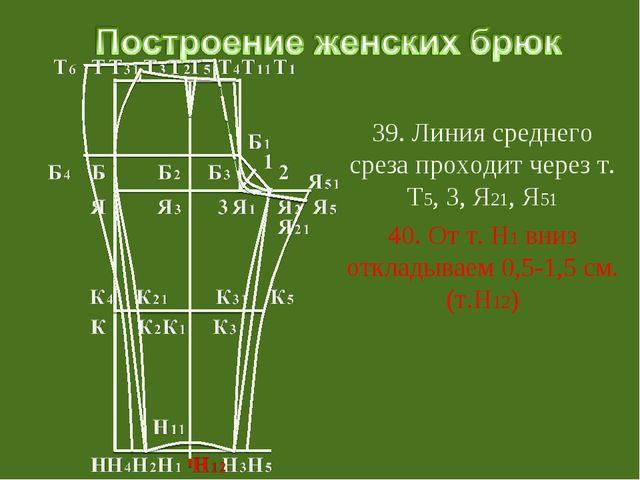 39. Линия среднего среза проходит через т. Т5, 3, Я21, Я51 40. От т. Н1 вниз...