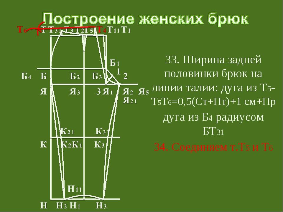 33. Ширина задней половинки брюк на линии талии: дуга из Т5-Т5Т6=0,5(Ст+Пт)+...